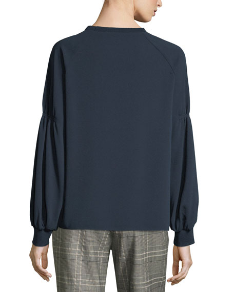 Sav Crewneck Long-Sleeve Easy Crepe Shirt