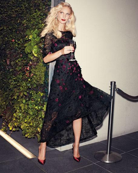 Elbow-Sleeve High-Low Lace 3-D Velvet Floral Cocktail Dress