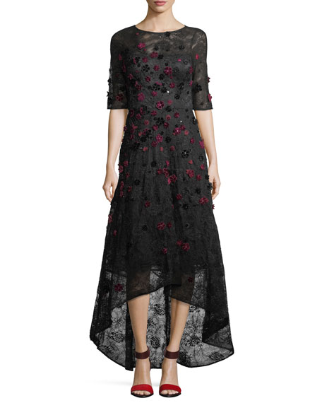 RICKIE FREEMAN FOR TERI JON Elbow-Sleeve High-Low Lace 3-D Velvet Floral Cocktail Dress in Black/Red