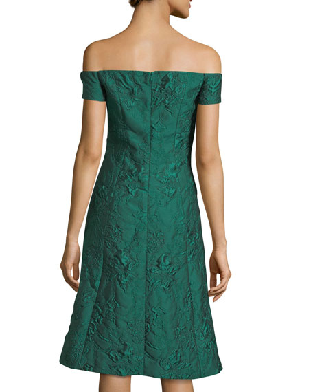 Off-the-Shoulder Cloqué Jacquard Cocktail Dress