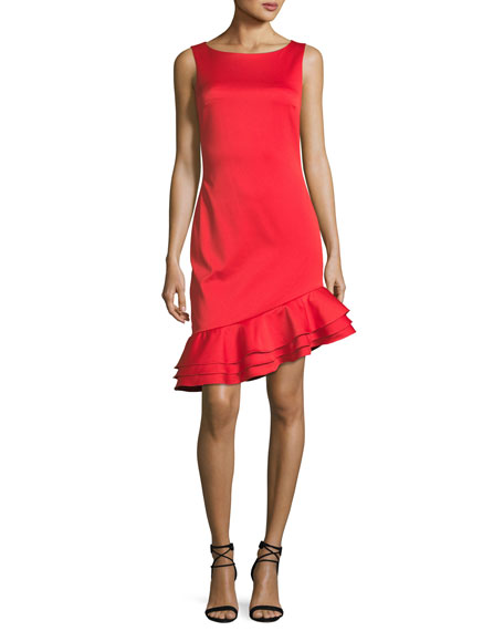 Badgley Mischka Sleeveless Asymmetric-Ruffle Sheath Cocktail Dress