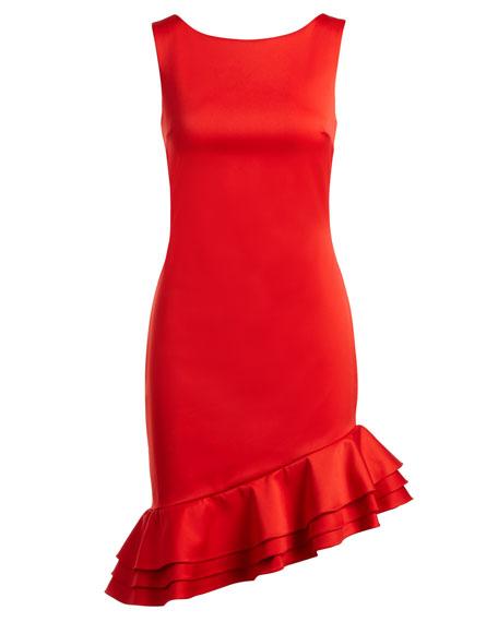 Sleeveless Asymmetric-Ruffle Sheath Cocktail Dress
