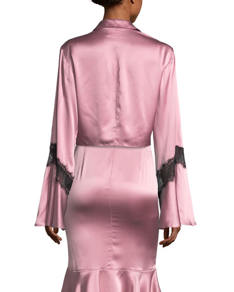 Genevieve Button-Front Silk Satin Top with Lace