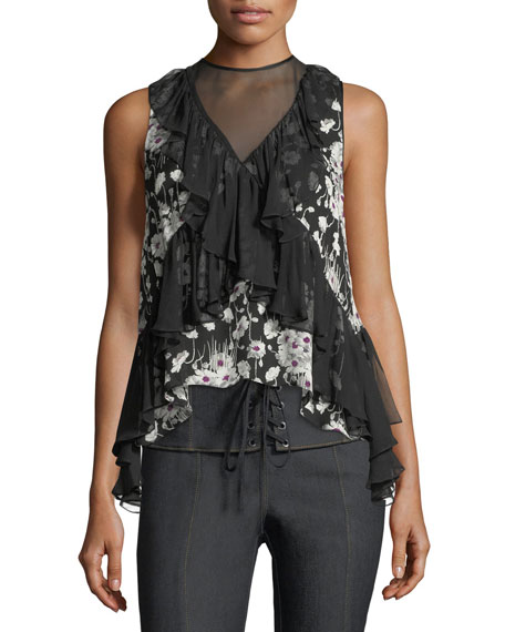 Simone Ruffled Sleeveless Floral-Print Blouse