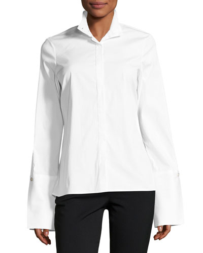 Simone Button-Front Poplin Blouse