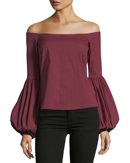 Caroline Constas Gisele Off-the-Shoulder Poplin Blouse