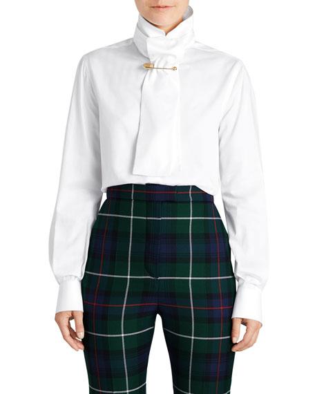 Tie-Neck Herringbone Cotton Shirt