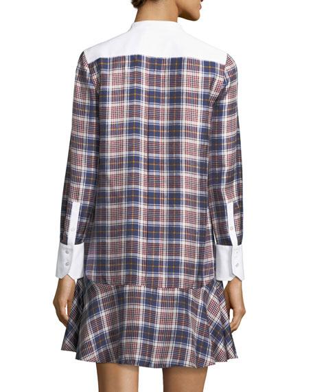 Cora Tartan Plaid Silk Shirtdress