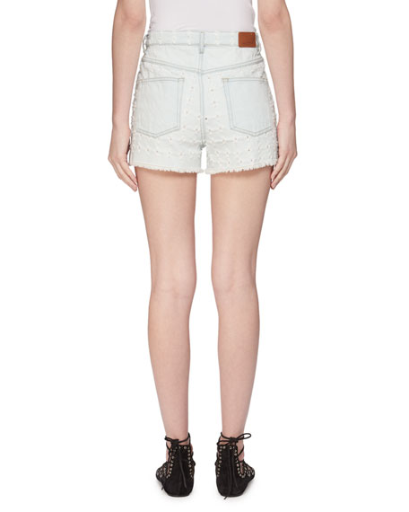 Image 2 of 2: Celsa Perforated Denim Shorts
