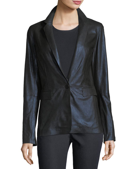 Lafayette 148 New York Lyndon Metallic Leather Blazer