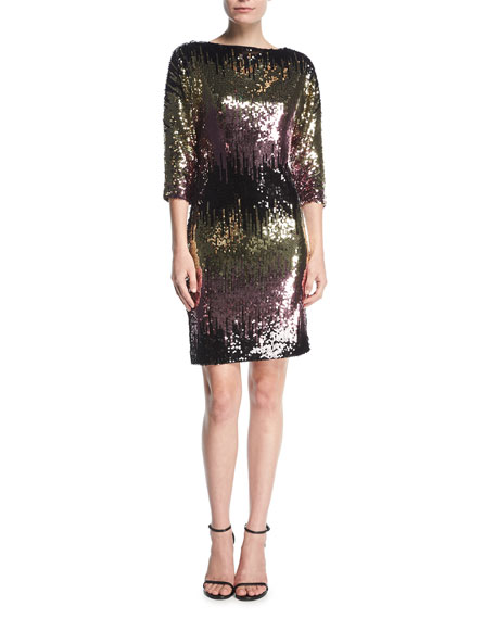 Kimberly Ombre Sequin Cowl-Back Mini Cocktail Dress, Multi