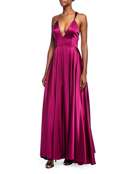 Milly Monroe Stretch-Charmeuse Strappy-Back Gown | Neiman Marcus