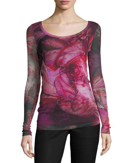 Fuzzi Scoop-Neck Floral-Print Top