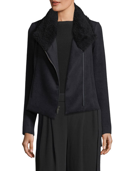 Zip-Front Scuba Coat w/ Shearling Fur Collar