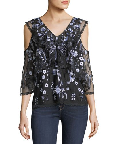 Roxanne Floral-Embroidered Popover Blouse