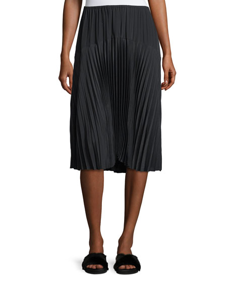 Vince Pleated Seamed Midi Skirt