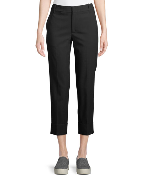Vince High-Waist Coin Pocket Straight-Leg Pants and Matching