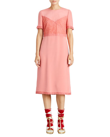 Burberry Silk Crepe Dress with Chantilly Lace