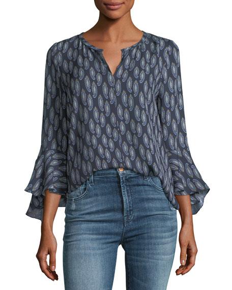 Janelle Split Flutter-Sleeve Silk Top