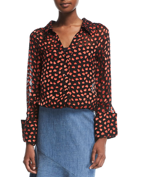 Alice + Olivia Emmerson Heart-Burnout Velvet Shirt and