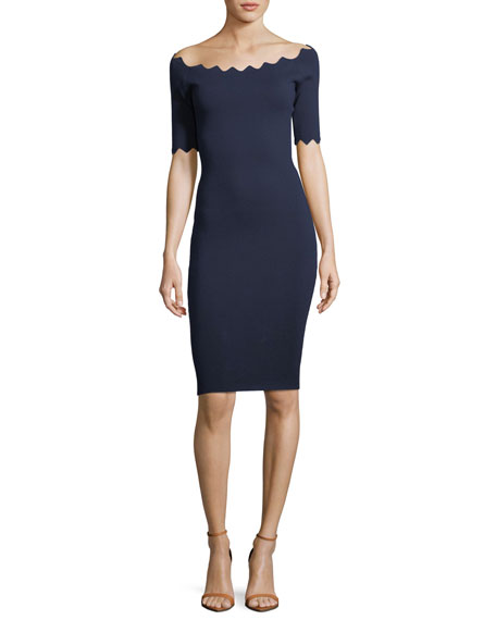 Pointed Scallop Fitted Dress