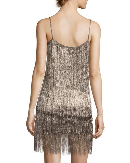 Dalla Draped Sleeveless Metallic Evening Gown