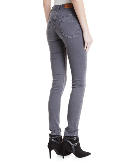 Mid-Rise Straight-Leg Jeans with Embroidered Sides
