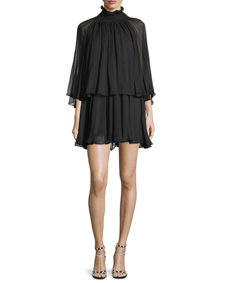 Caroline Constas Mock-Neck Long-Sleeve Silk Chiffon Mini Dress