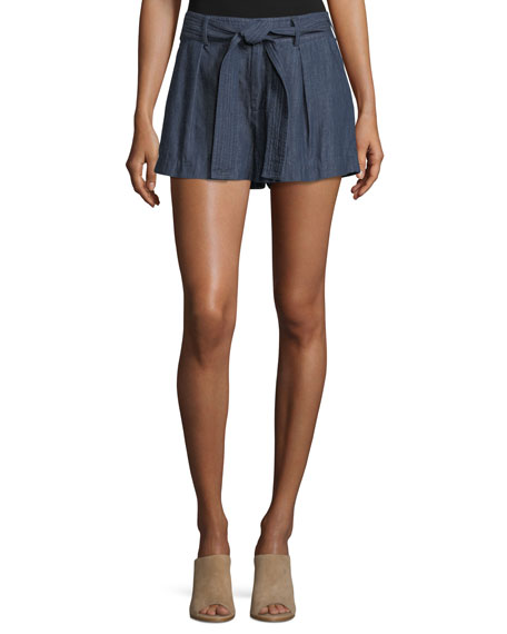 Joie Pike Chambray Cotton Shorts