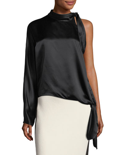 One-Shoulder Knotted Satin Blouse
