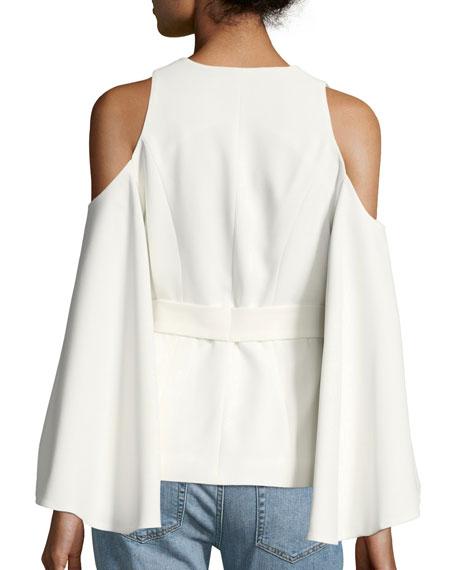 Nila Crossover-Front Cold-Shoulder Crepe Top
