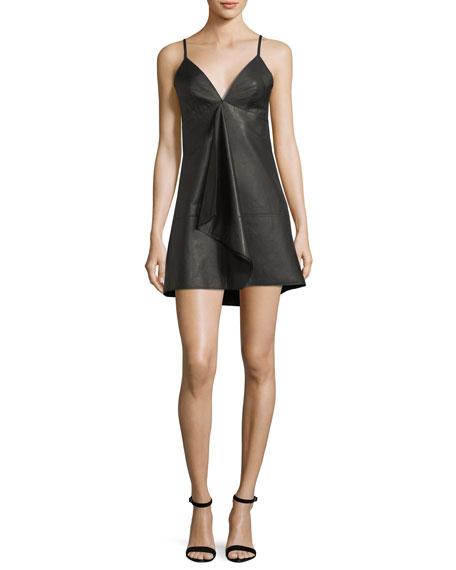 Alexis Rei Deep-V Sleeveless Leather Mini Dress