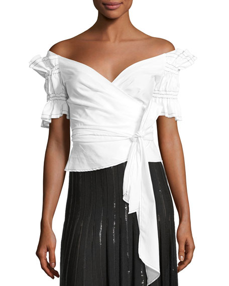 Jonathan Simkhai Ruched Off-the-Shoulder Poplin Wrap Top