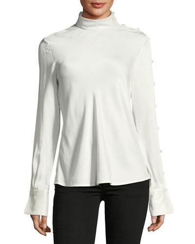 Bretton Long-Sleeve Silk Top