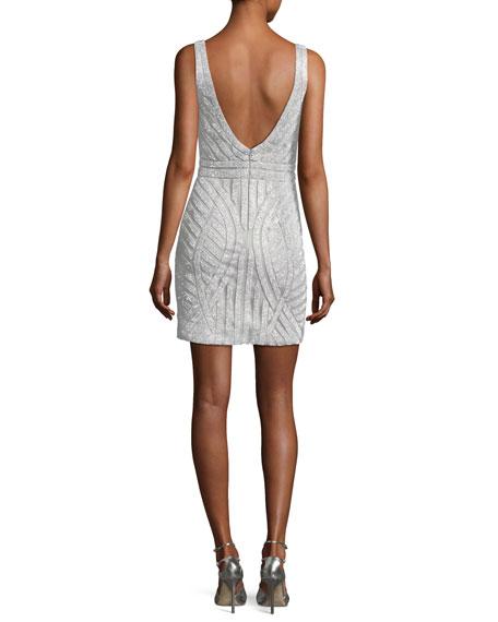 Beaded V-Neck Mini Sheath Cocktail Dress