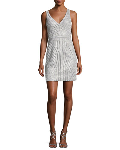 Beaded V-Neck Mini Sheath Cocktail Dress