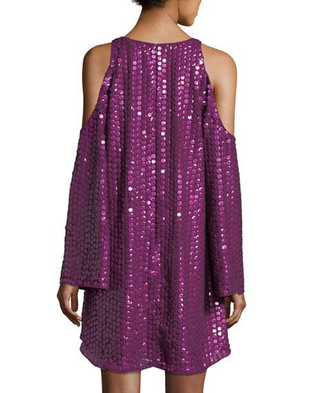 Naomi Textured Cold-Shoulder Cocktail Dress