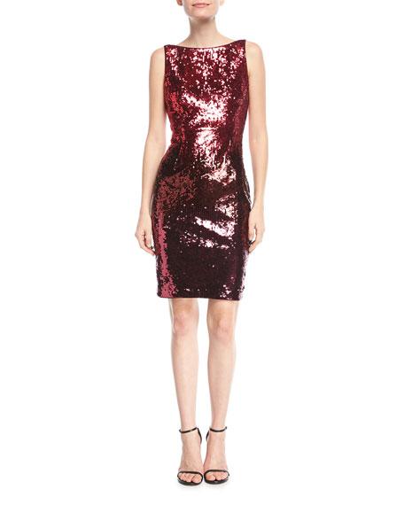 Sequin Bateau-Neck Cocktail Dress