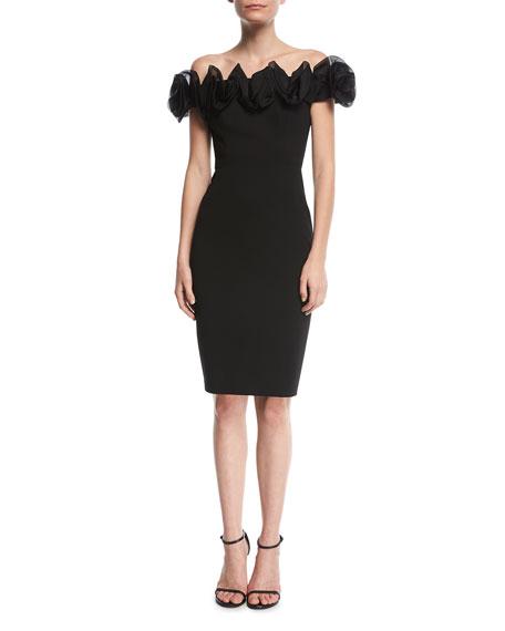 Off-the-Shoulder Rose Cocktail Dress