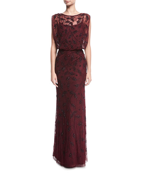 Lace Beaded Blouson Evening Gown