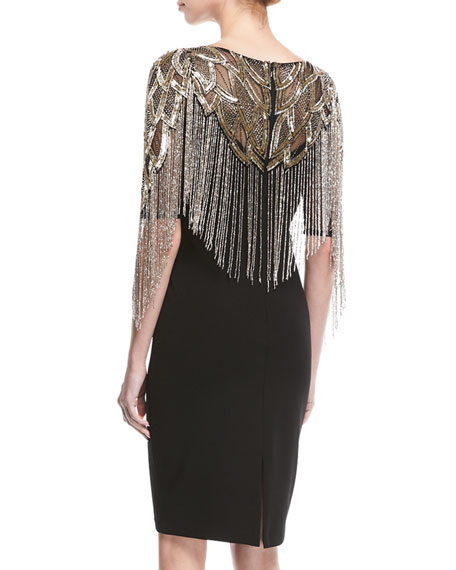 Beaded Cocktail Dress w/ Metallic Fringe