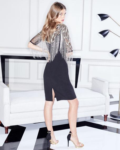 Beaded Cocktail Dress w/ Metallic Fringe