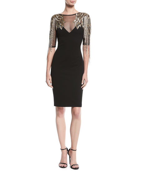 Aidan Mattox Beaded Cocktail Dress w/ Metallic Fringe