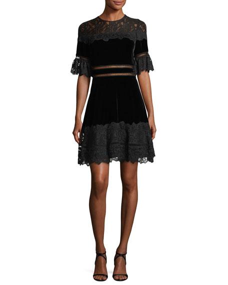 Rebecca Taylor Short-Sleeve Jewel Neck Velvet & Lace