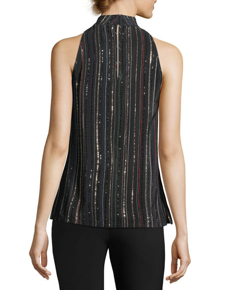 Logan Sleeveless Metallic Dotted Stripe Silk Top