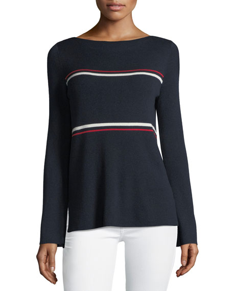 Neiman Marcus Cashmere Collection Crewneck Striped Bell-Sleeve