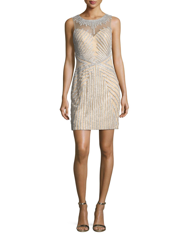 Jovani Beaded Strapless Illusion Cocktail Dress | Neiman Marcus