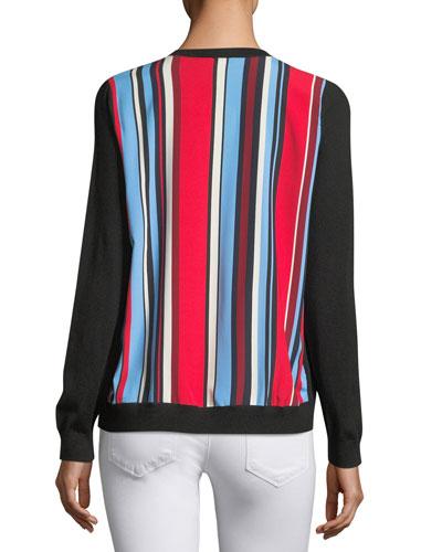 Cashmere Striped-Back Cardigan