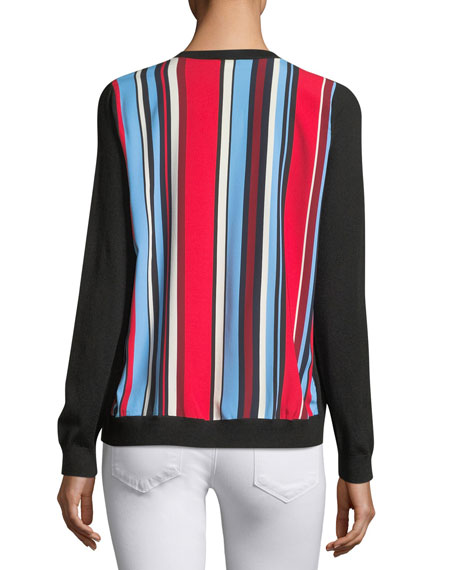 Neiman Marcus Cashmere Collection Cashmere Striped-Back Cardigan
