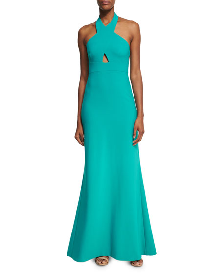 Likely Damen Crossover-Neck Sleeveless Gown